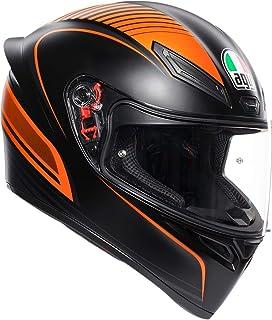 AGV Unisex-Adult Full Face K-1 Warmup Motorcycle Helmet (Black/Orange, Medium/Large)