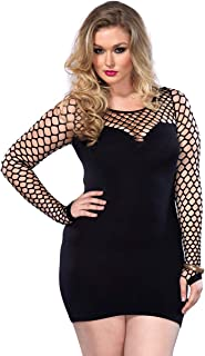 Leg Avenue Women's Plus Size Seamless Mini Dress with Diamond Net Bodice