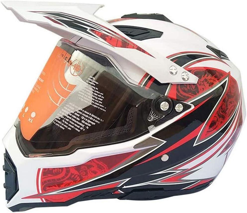 ZGYZ Casco de Motocross con Visera, Casco Cruzado de Moto Casco de Bicicleta de montaña Casco de Moto con Red para Casco, Blanco y Rojo