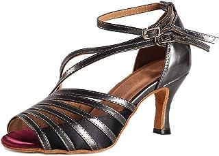 56d75225 HIPPOSEUS Zapatos de Baile Latino para el salón de Baile con Purpurina y Salsa  para Mujer