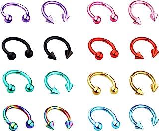 Juland 16 PCS Kit de Piercing Piercing del Cuerpo de la Barra C Acero Inoxidable quirurgico Ombligo, Lengua, ceja, pezón, Labio, Nariz Tapers Juego de medidores de Tapones