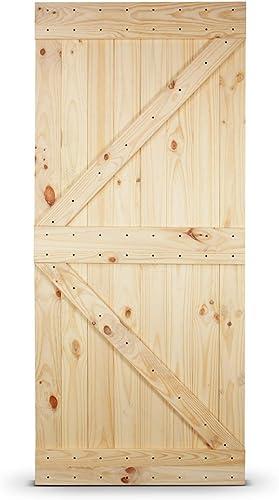 new arrival BELLEZE 36in.x 84in. Unfinished 2021 Knotty Pine Wood Left Arrow Design Sliding Single online Barn Door Pre Drilled (3 ft x 7 ft), Natural online