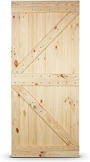 BELLEZE 36in.x 84in. Unfinished Knotty Pine Wood Left Arrow Design Sliding Single Barn Door Pre Drilled (3 ft x 7 ft), Natural