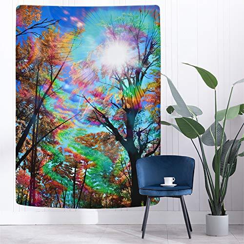 Tapiz de árbol colorido con diseño de árboles, bohemio, psicodélico, tapiz de atardecer para habitación