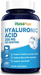 Hyaluronic Acid 200mg 180 Veggie Capsules (Non-GMO & Gluten Free) - Supports Healthy Joints* - Promotes Healthy Skin*
