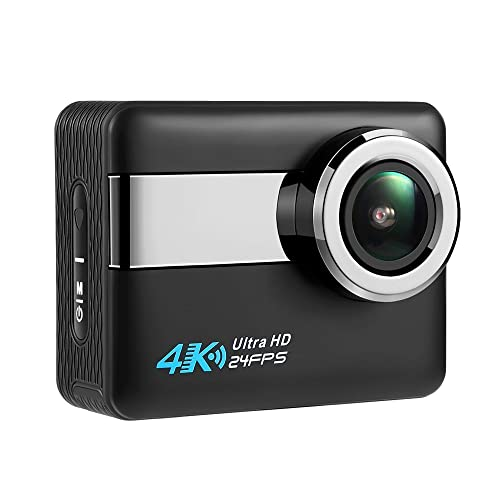"""Axeto N6 4K Wifi Action Camera, 2.31"""" LCD Touchscreen 20MP Sony Image Sensor 170° Wide-Angle Waterproof, Remote,2 Batteries With Kit (Black)"""