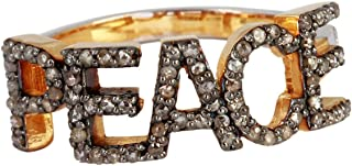 925 Sterling Silver With 14k Fine Gold Peace Ring With 0.46 Carat Brown Natural Diamond (I2-I3 Clarity ) For Women