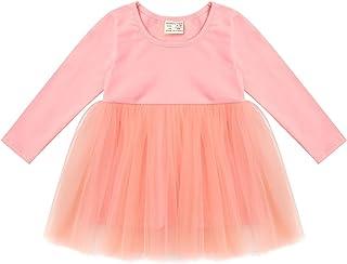 Aiihoo Infant Baby Girls Splice Princess Dress Long Sleeve Round Neck Dresses with Mesh Attach Around Waist