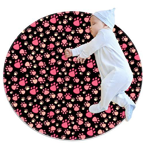 Tappeto rotondo per bambini tappeto rotondo antiscivolo zona rotonda tappeti lavabile tappetino, rosa animale domestico zampa modello