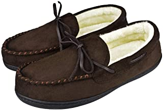 Tirzrro Men's Microsuede Plush Lining Moccasins with Memory Foam Slip On Indoor Outdoor Slippers
