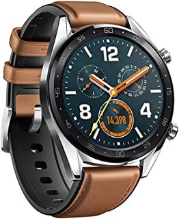 TTAON Smart Watch Band Leather +Silicone Wrist Band Strap For Huawei Watch GT/Active 46mm Brown
