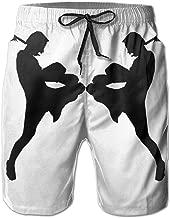 Muay Thai Silhouette Men's Summer Beach Surf Board Shorts Quick Dry Swimming Trunks Casual Loose Sleep Short Pants