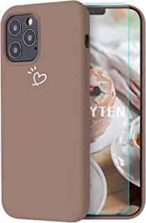 Feyten Funda iPhone 12/12 Pro (6,1 Pulgadas) [Cristal Vidrio Templado], Ultra Delgado Forma de Corazón Patrón Diseño Silic...