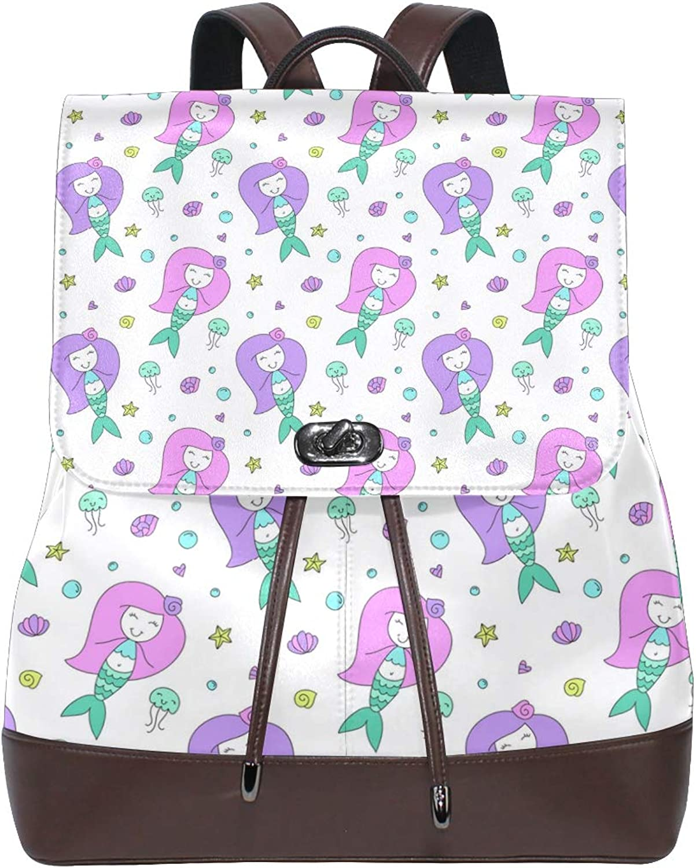Fashion Shoulder Bag Rucksack PU Leather Women Girls Ladies Backpack Travel Bag Cute Purple Hair Mermaid Doll