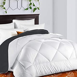 TEKAMON All Season Reversible King Comforter Winter Warm Soft Quilted Down Alternative Duvet Insert with Corner Tabs, Luxury Fluffy Hotel Collection, White/Gray, 90 x 102 inches