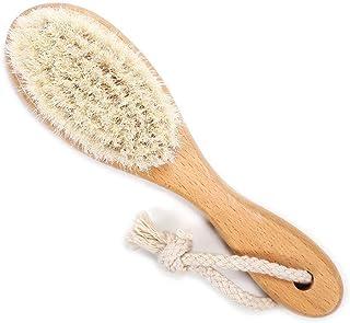 فرشاة شعر خشبية للأطفال حديثي الولادة مصنوعة من الصوف الناعم لتدليك فروة الرأس والعناية بالأطفال