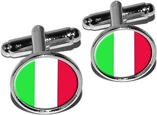 Italy Italian Flag Round Cufflink Set - Silver