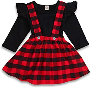 ZOELNIC Baby Girls Suspender Skirt Set Ruffle Long Sleeve Tops + Christmas Tree Plaid Skirt Outfit