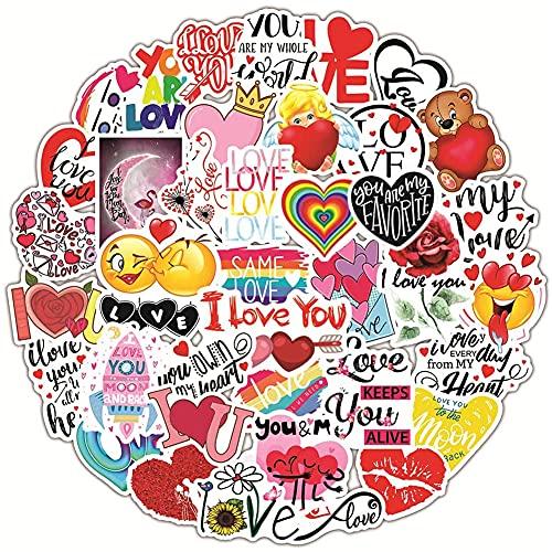 FANDE Adesivi D'amore, Adesivi D'amore a Tema di San Valentino, un Gran Numero di Adesivi con Graffiti di Cartoni Animati ad Alta Definizione, Adesivi per Valigie per Laptop (100PCS)