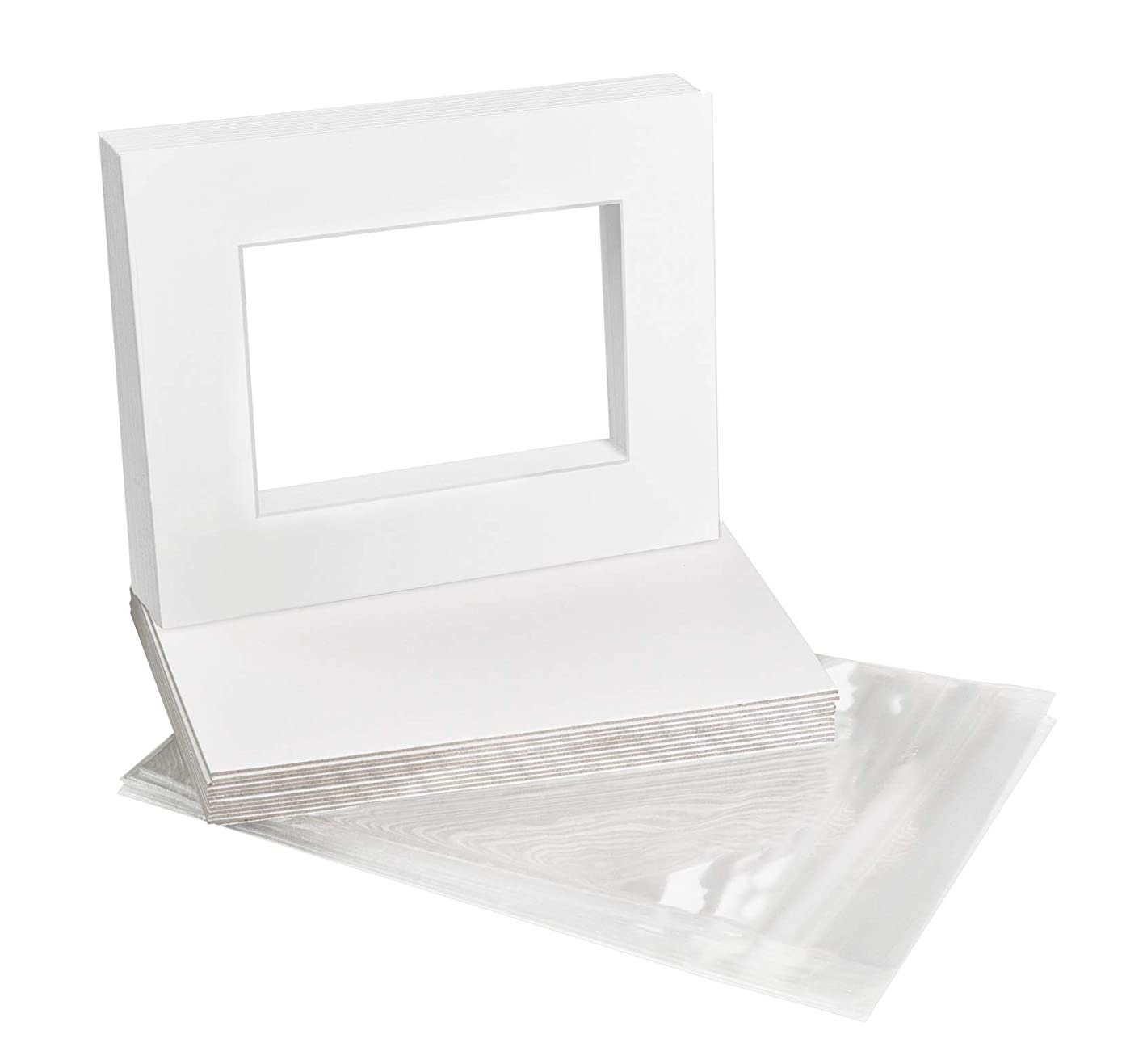 Golden State Art, Acid-Free Pre-Cut 8x10 White Picture Mat Sets. Includes Pack of 10 White Core Bevel Cut Mats for 5x7 Photos, 10 Backing Boards and 10 Crystal Clear Plastic Sleeves Bags