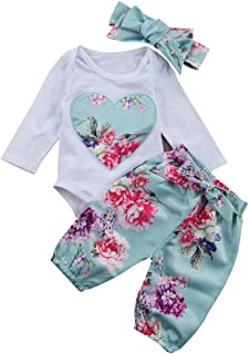 Renotemy Newborn Baby Girl Clothes Outfits Infant Romper Ruffle Onsies Floral Pants Cute Toddler Baby Girl Clothes Set