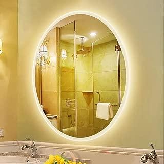 L&ED Backlight Mirror, Modern Illuminated LED Bathroom Mirror, Oval, LED Lighted Vanity Mirror,600X800mm