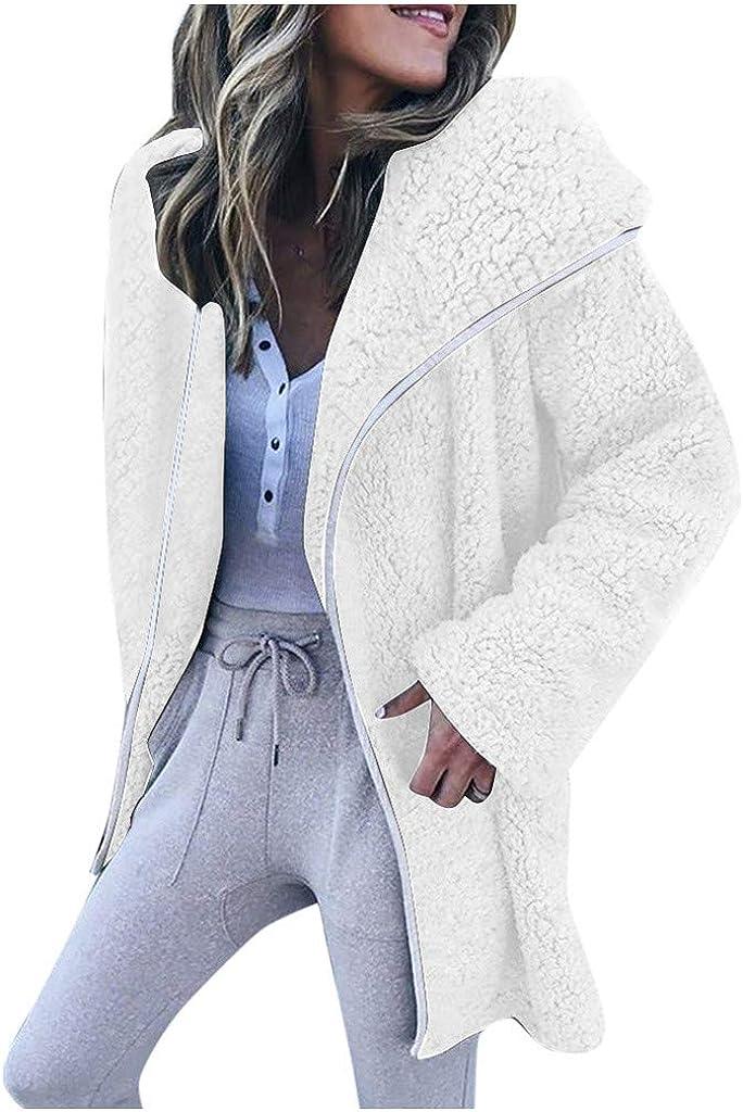 Sunmoot Women Winter TeddyJacket Long Sleeve Casual Fleece Spread Collar Cardigan Sweater Coat