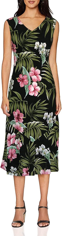 RJC Women's Breathtaking Island Getaway Tea Length Sleeveless Hawaiian Dress