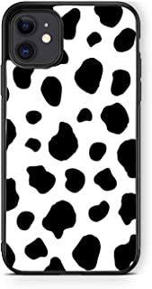 XUNQIAN Compatible for iPhone 12 Case, iPhone 12 Pro Case, Black White Cow Dalmatian Spots Thin Soft Black TPU +Tempered M...