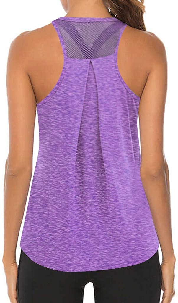 VEKDONE Workout Tops for Women Activewear Athletic Yoga Tank Tops Sleeveles Mesh Backless Muscle Tank Running Shirts