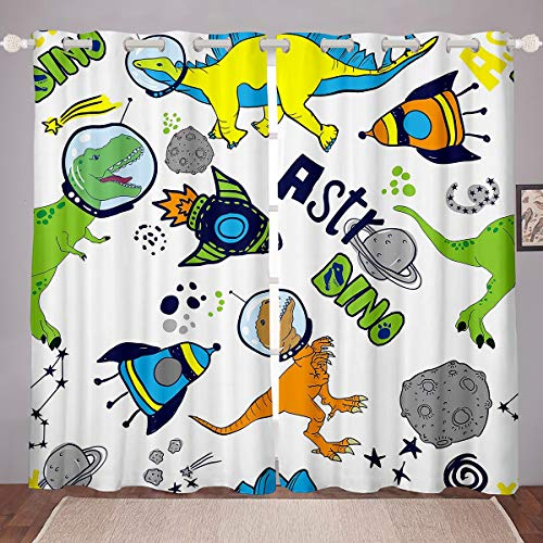 Feelyou Kids Cartoon Dinosaur Curtains Cute Dino Curtains for Bedroom Living Room for Adults Space Rocket Print Windows Drapes Funny Dinosaur Astronaut Room Decoration,42 X 90 Inch,2 Panels