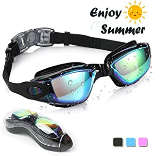 Lhyhxays Swimming Goggles, HD Anti-Fog and Anti-Leakage, Anti UV Protection, Soft Silicone Nose Bridge Safe Material, Adjustable Head Strap, Swim Goggles for Adult Men Women Kids
