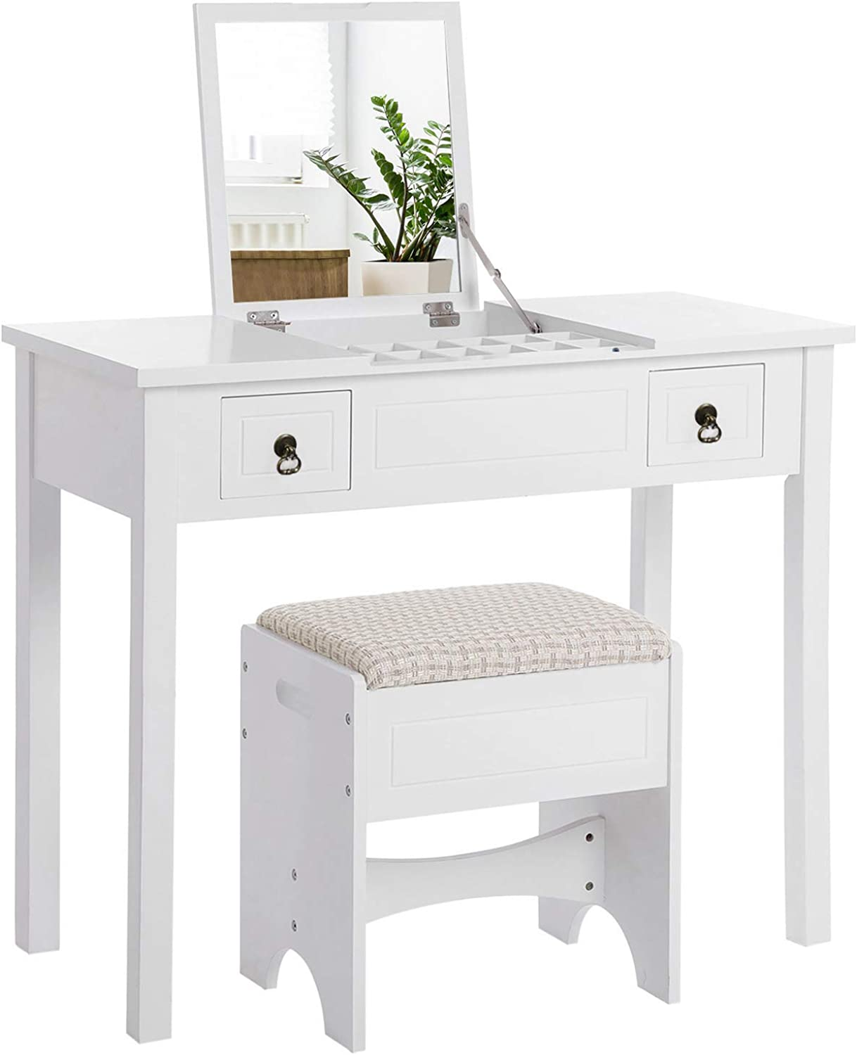 VASAGLE Vanity Set with Flip Top Mirror Makeup Dressing Table Writing Desk with 2 Drawers Cushioned Stool 3 Removable Organizers Easy Assembly, White URDT01WT