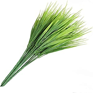 Sprießen Artificial Plants, 6pcs Faux Plastic Wheat Grass Fake Leaves Shrubs Simulation Greenery Bushes Indoor Outside Home Garden Office Verandah Wedding Decor (Green)