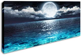 DVQ ART - Sea Canvas Wall Art Blue Clear Ocean Seascape Giclee Artwork Full Moon in Cloud Landscape Framed Picture Canvas Prints for Living Room Decor - 20
