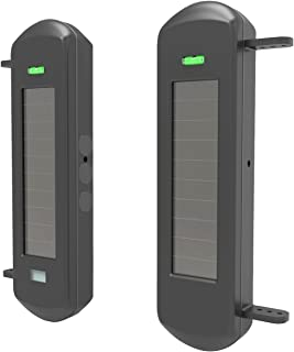 HTZSAFE Solar Wireless Outdoor Photoelectric 3 Beam Sensor Waterproof(IP66) Wireless Transmission Range Up To 1/2 Mile Inf...