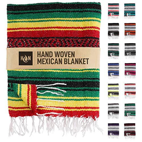 Handgefertigte mexikanische Decken, handgewebte Serape-Decke, authentische Falsa-Decke, ideal als Stranddecke, Campingdecke, Picknickdecke, Outdoor-Decke, Boho-Überwurfdecke, Rasta