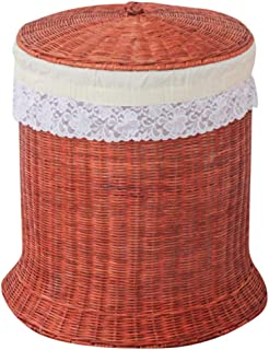 Q.AWOU Home Accessories Woven Water Hyacinth Rattan Laundry Clothes Hamper Basket with Liner and Lid, Round (Color : B)