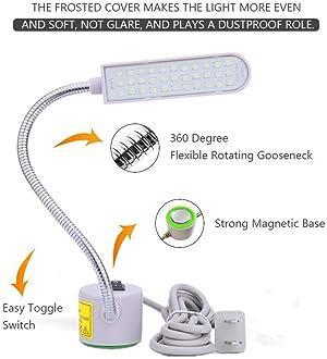 Tohoer Multi-Task LED Light with 6 Watt 33 Daylight LEDs-Multifunctional Flexible Gooseneck Arm Work Lamp for Workben...