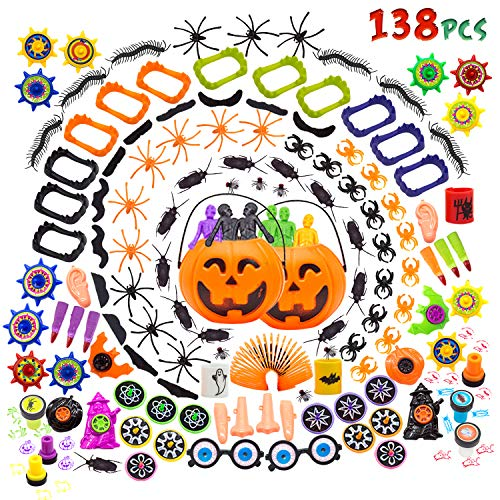 138 PCs Halloween Party Favors Pumpkin Buckets Novelty Toys for Kids Halloween Decorations Trick or Treat Toys