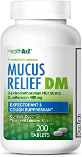 HealthA2Z Mucus Relief DM, 200 Count,Dextromethorphan HBr 20mg Guaifenesin 400mg,Generic Mucinex DM Cough,Immediate Release