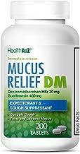 HealthA2Z Mucus Relief DM, 200 Count,Dextromethorphan HBr 20mg Guaifenesin 400mg,Generic Mucinex DM Cough,Immediate Release