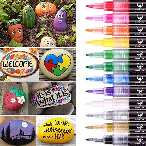 Rotuladores Acrilicos 12 colores para Pintura de Piedra, Mad