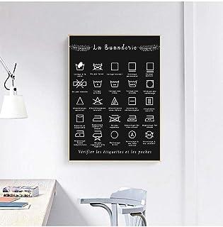 ZLARGEW Français buanderie Symbole Signe Imprime Noir et Blanc Affiche Wall Art Photo Toile Peinture buanderie décor Art e...