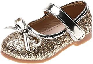 Little Kid Princess Shoes,MS-SM Toddler Infant Baby Girls Flat Silver Gold Pink Sole Rubber Bling Sequin Single Party Dress Sandals for 1.5-6 Years Old