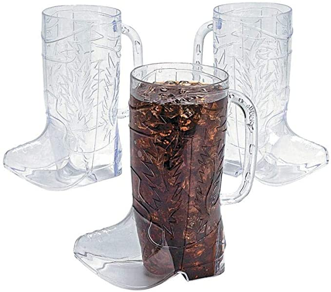 """Vintage Glass Cowboy Boot Mug With Handle Western 6/"""" Inches tall 1 set of 2."""