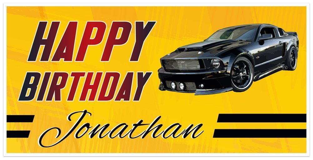Black Classic Sales Sports Car GT Banner Birthday Personalized Vintage sold out
