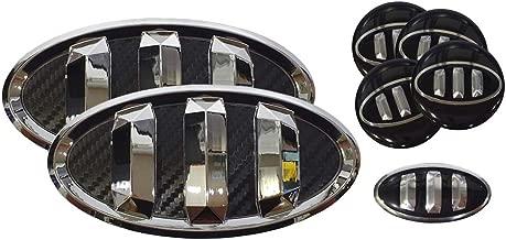 3D Tauro Carbon Fiber Emblem Set 7pc Front + Rear + Steering Wheel + Wheel Cap (Fit: KIA Picanto, Morning)