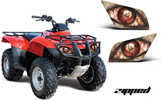 AMR Racing ATV Headlight Eye Graphic Decal Cover Compatible with Honda Recon 2005-2014 - Zipped