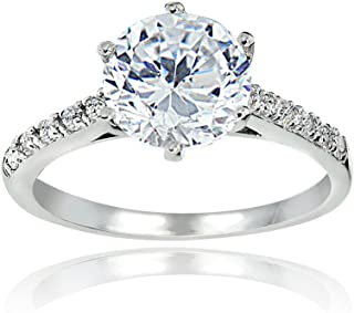 Sterling Silver 8mm Round Cubic Zirconia 6-Prong-Set Solitaire Bridal Ring